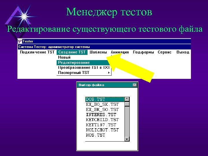 Менеджер тестов Редактирование существующего тестового файла