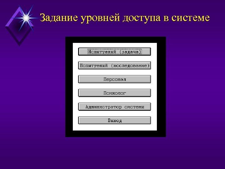 Задание уровней доступа в системе