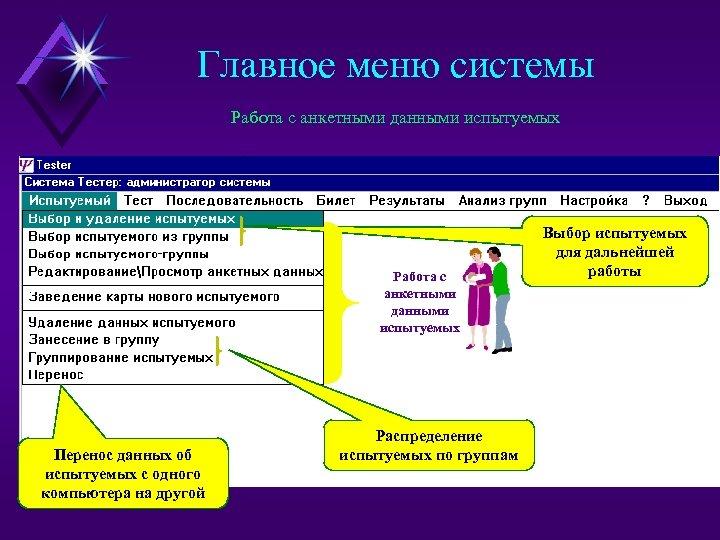 Главное меню системы Работа с анкетными данными испытуемых Перенос данных об испытуемых с одного