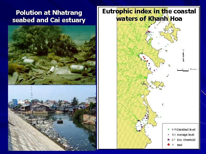 Polution at Nhatrang seabed and Cai estuary Eutrophic index in the coastal waters of