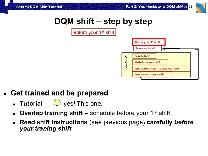 Part 2: Your tasks as a DQM shifter 13 Central DQM Shift Tutorial DQM