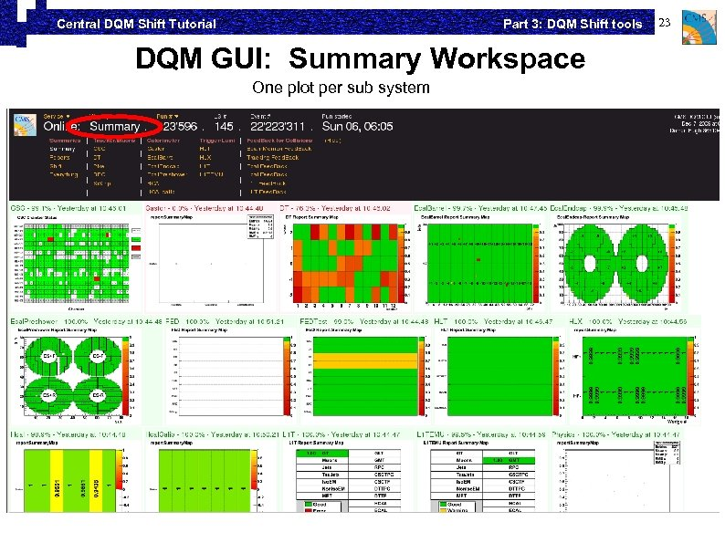 Part 3: DQM Shift tools Central DQM Shift Tutorial DQM GUI: Summary Workspace One