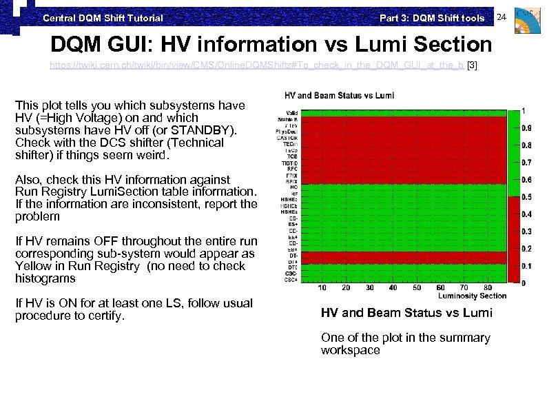 Central DQM Shift Tutorial Part 3: DQM Shift tools DQM GUI: HV information vs