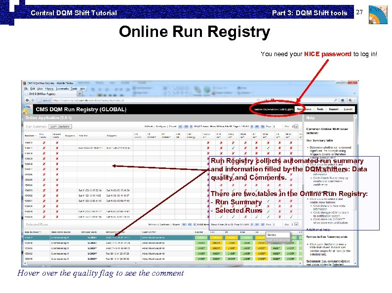 Part 3: DQM Shift tools Central DQM Shift Tutorial 27 Online Run Registry You
