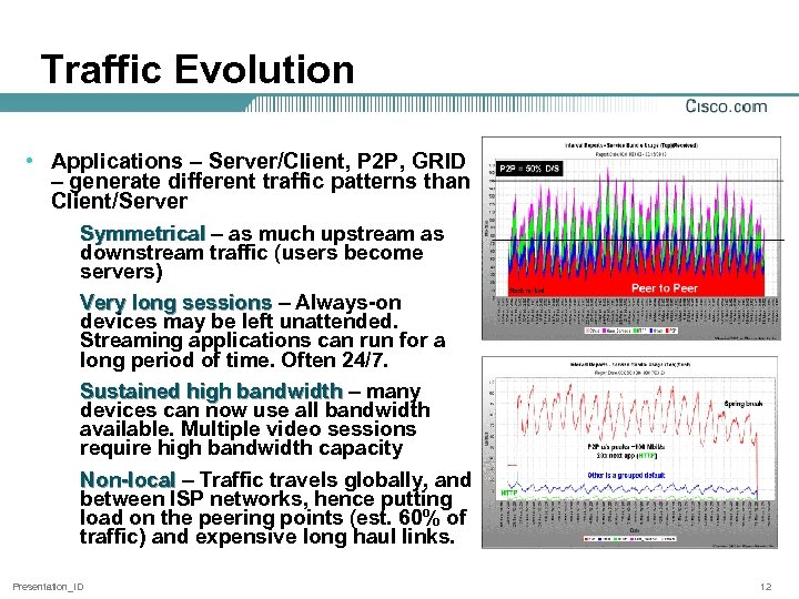 Traffic Evolution • Applications – Server/Client, P 2 P, GRID – generate different traffic