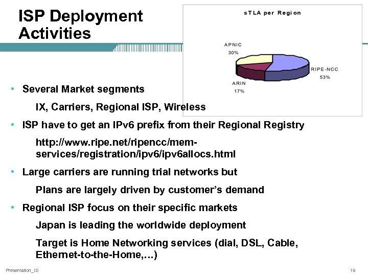 ISP Deployment Activities • Several Market segments IX, Carriers, Regional ISP, Wireless • ISP