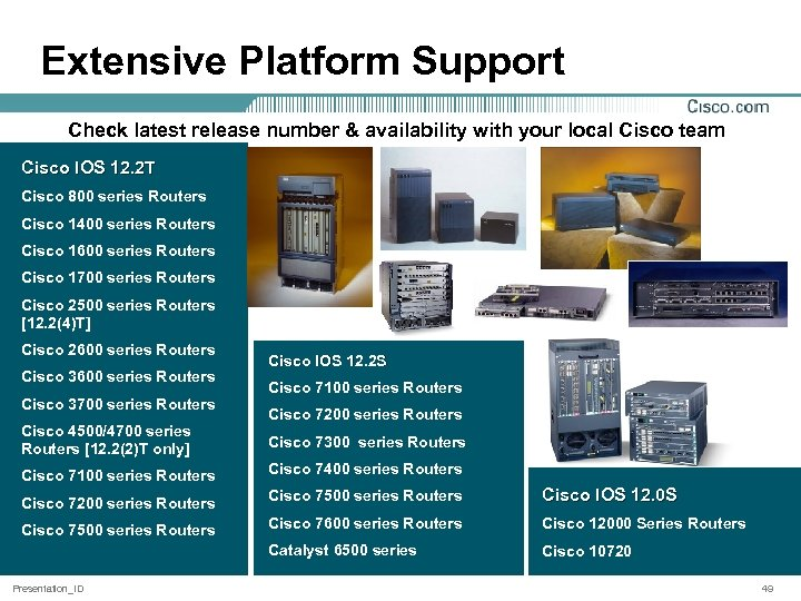 Extensive Platform Support Check latest release number & availability with your local Cisco team