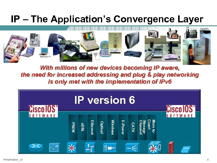 IP – The Application's Convergence Layer With millions of new devices becoming IP aware,
