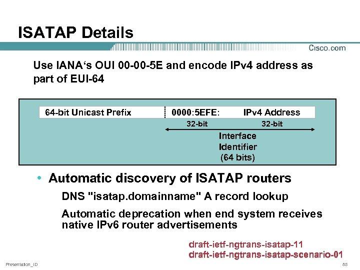 ISATAP Details Use IANA's OUI 00 -00 -5 E and encode IPv 4 address