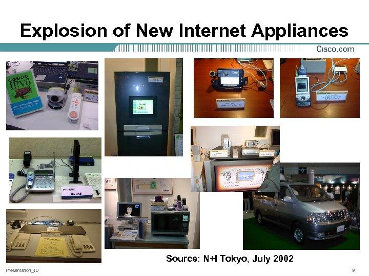 Explosion of New Internet Appliances Source: N+I Tokyo, July 2002 Presentation_ID 9
