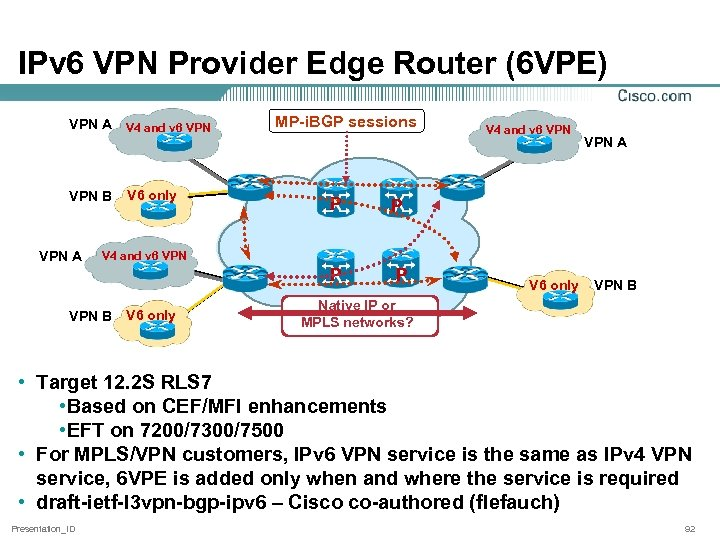 IPv 6 VPN Provider Edge Router (6 VPE) VPN A VPN B V 4