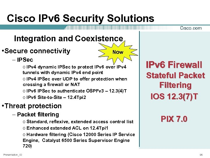Cisco IPv 6 Security Solutions Integration and Coexistence • Secure connectivity Now – IPSec