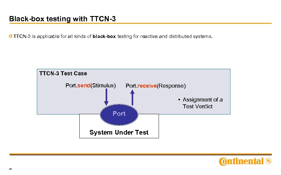 Black-box testing with TTCN-3 is applicable for all kinds of black-box testing for reactive