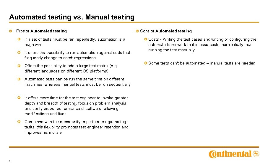 Automated testing vs. Manual testing Pros of Automated testing If a set of tests