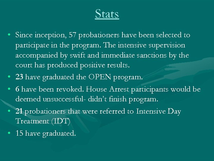 Stats • Sinception, 57 probationers have been selected to participate in the program. The