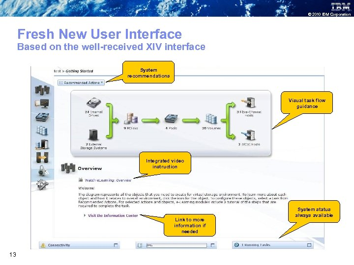 © 2010 IBM Corporation Fresh New User Interface Based on the well-received XIV interface