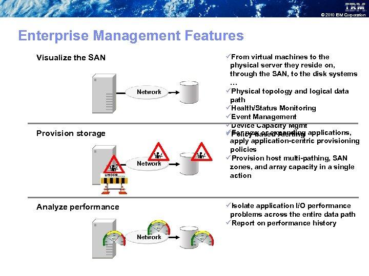 © 2010 IBM Corporation Enterprise Management Features Visualize the SAN Network Provision storage Network