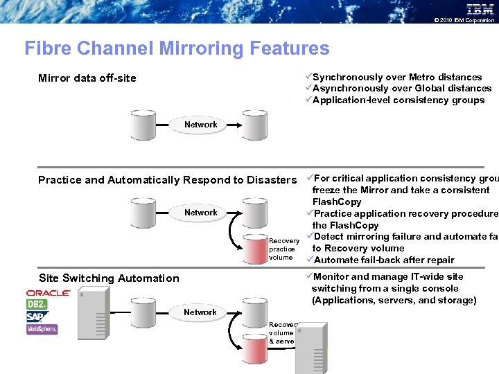 © 2010 IBM Corporation Fibre Channel Mirroring Features üSynchronously over Metro distances üAsynchronously over