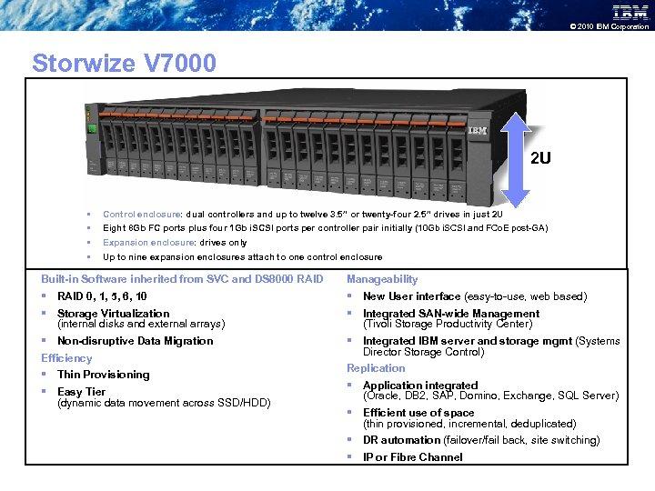 © 2010 IBM Corporation Storwize V 7000 2 U § § Control enclosure: dual