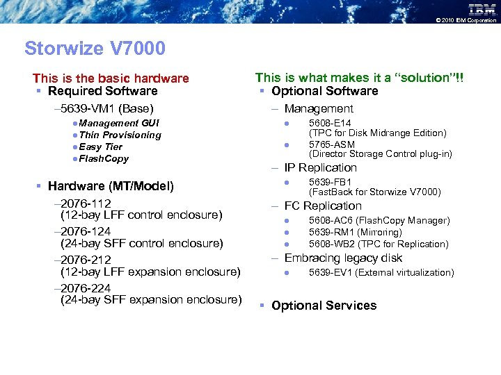 © 2010 IBM Corporation Storwize V 7000 This is the basic hardware § Required