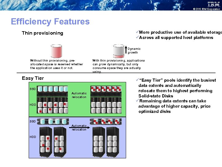 © 2010 IBM Corporation Efficiency Features üMore productive use of available storage üAcross all