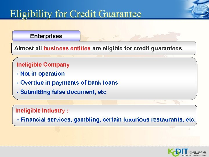 Eligibility for Credit Guarantee Enterprises Almost all business entities are eligible for credit guarantees
