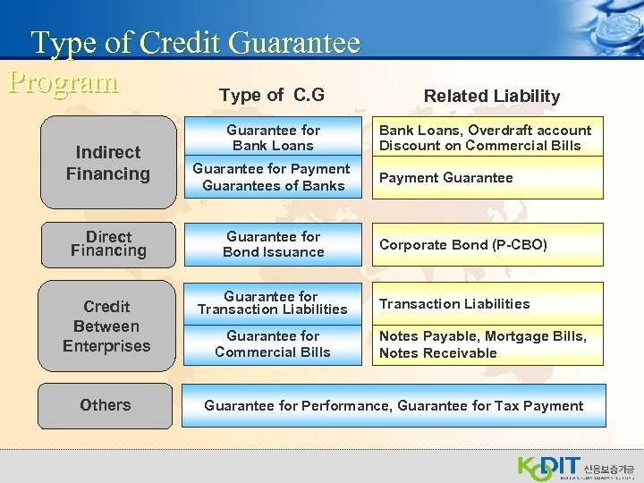 Type of Credit Guarantee Program Type of C. G Indirect Financing Direct Financing Credit