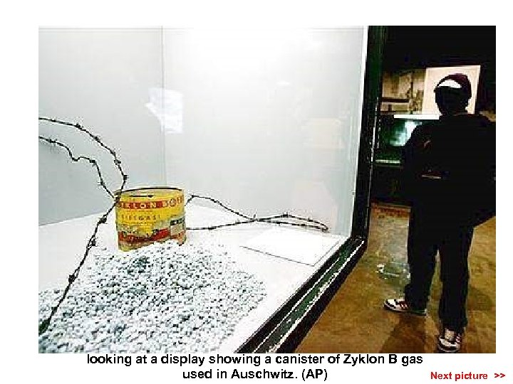 A visitor to Yad Vashem Holocaust museum in Jerusalem looking at a display showing