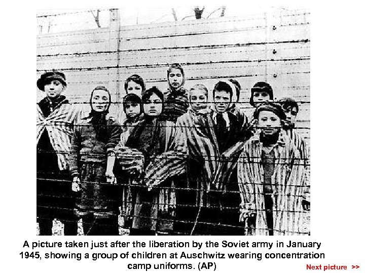 A picture taken just after the liberation by the Soviet army in January 1945,