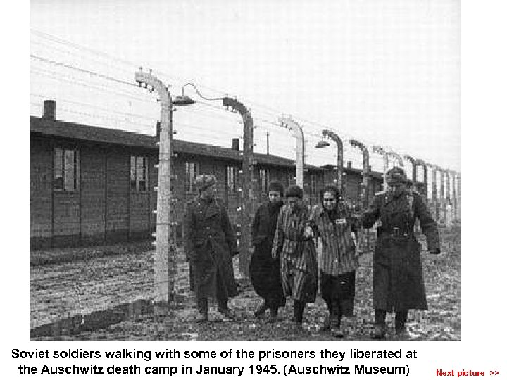 Soviet soldiers walking with some of the prisoners they liberated at the Auschwitz death