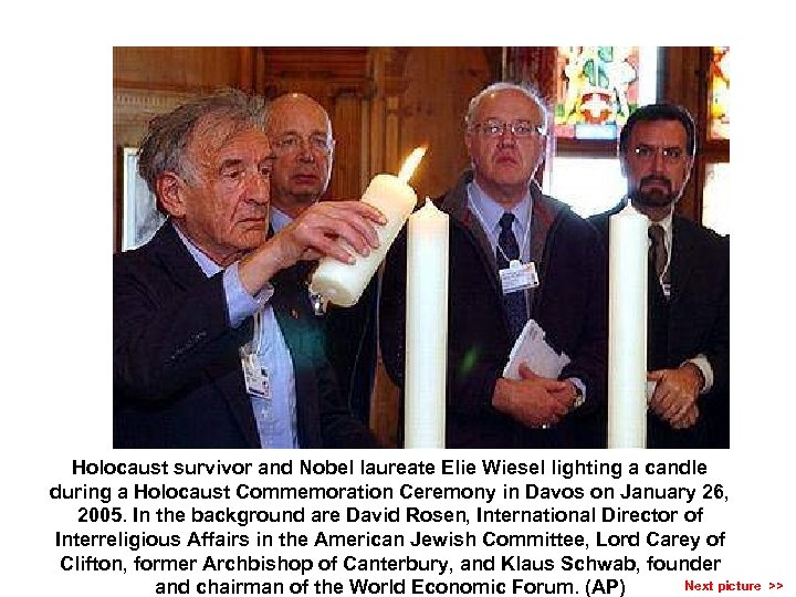 Holocaust survivor and Nobel laureate Elie Wiesel lighting a candle during a Holocaust Commemoration