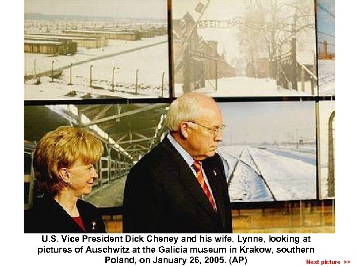 U. S. Vice President Dick Cheney and his wife, Lynne, looking at pictures of