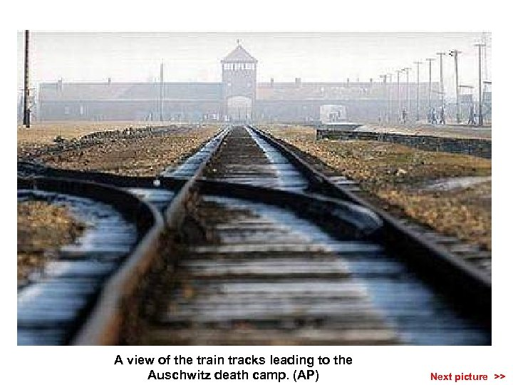 A view of the train tracks leading to the Auschwitz death camp. (AP) Next