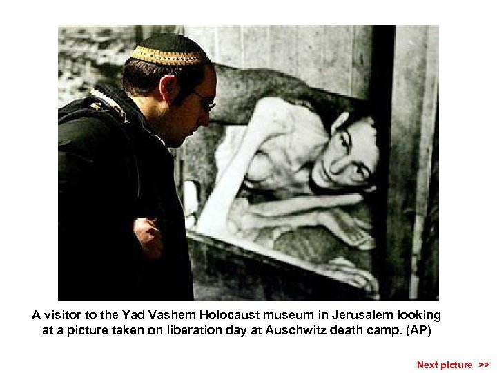 A visitor to the Yad Vashem Holocaust museum in Jerusalem looking at a picture