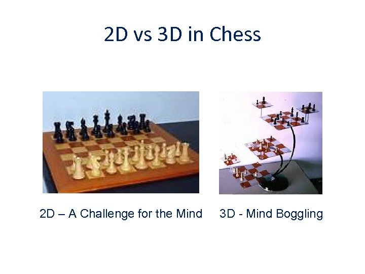 2 D vs 3 D in Chess 2 D – A Challenge for the