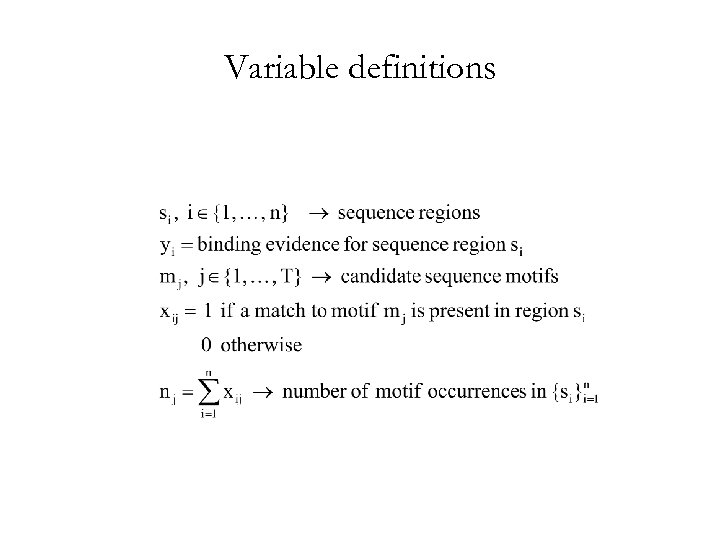 Variable definitions