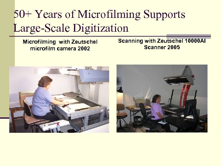 50+ Years of Microfilming Supports. Large-Scale Digitization Microfilming with Zeutschel microfilm camera 2002 Scanning
