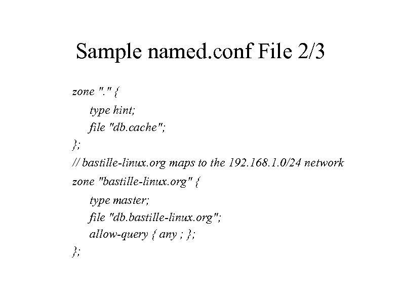 Sample named. conf File 2/3 zone