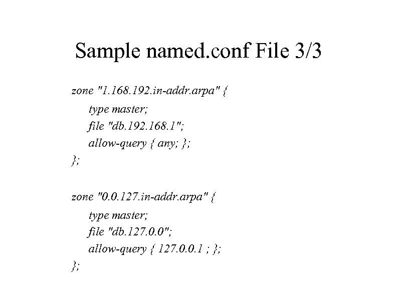 Sample named. conf File 3/3 zone