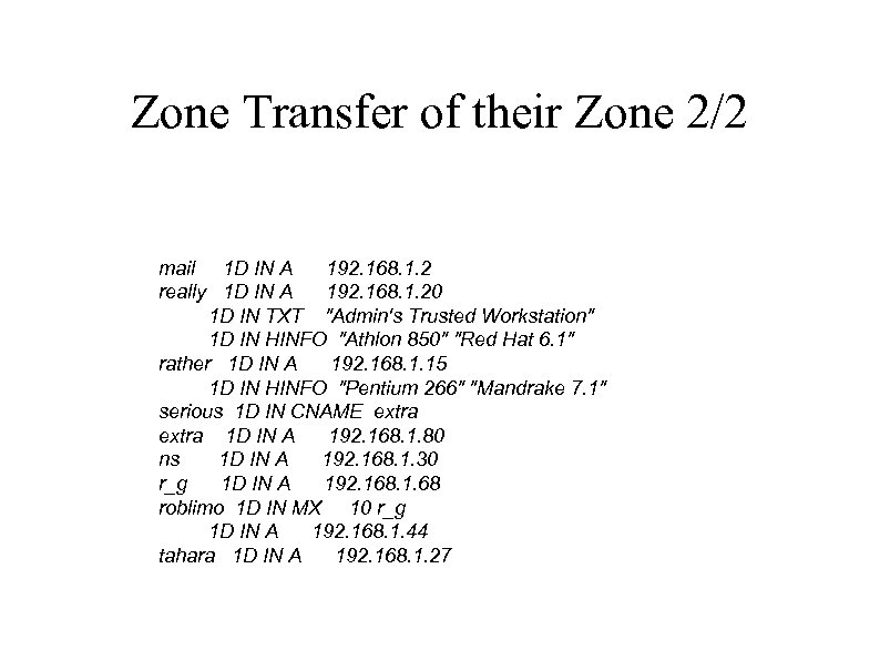 Zone Transfer of their Zone 2/2 mail 1 D IN A 192. 168. 1.