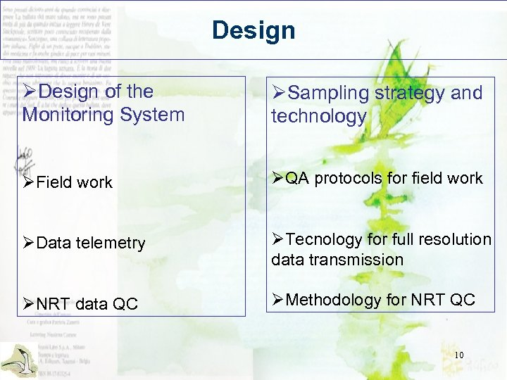 Design ØDesign of the Monitoring System ØSampling strategy and technology ØField work ØQA protocols