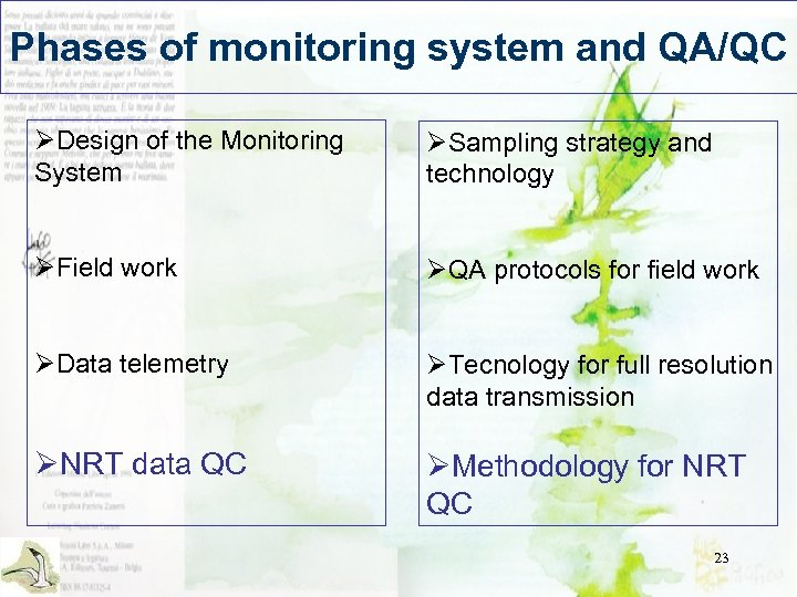 Phases of monitoring system and QA/QC ØDesign of the Monitoring System ØSampling strategy and
