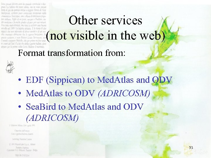 Other services (not visible in the web) Format transformation from: • EDF (Sippican) to