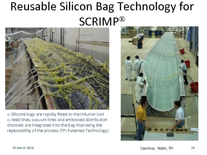 Reusable Silicon Bag Technology for ® SCRIMP o Silicone bags are rapidly fitted to