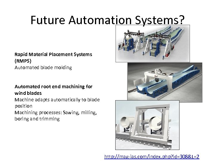 Future Automation Systems? Rapid Material Placement Systems (RMPS) Automated blade molding Automated root end