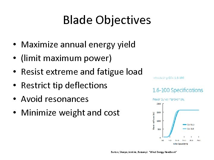 Blade Objectives • • • Maximize annual energy yield (limit maximum power) Resist extreme