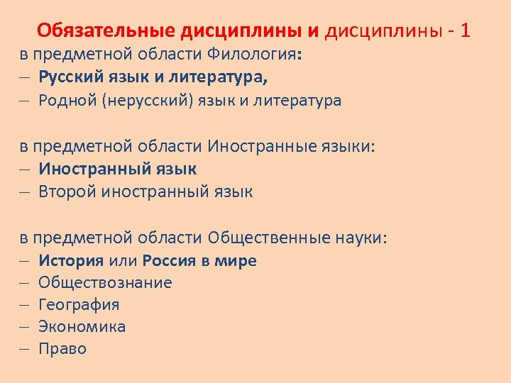 Обязательные дисциплины и дисциплины - 1 в предметной области Филология: Русский язык и литература,