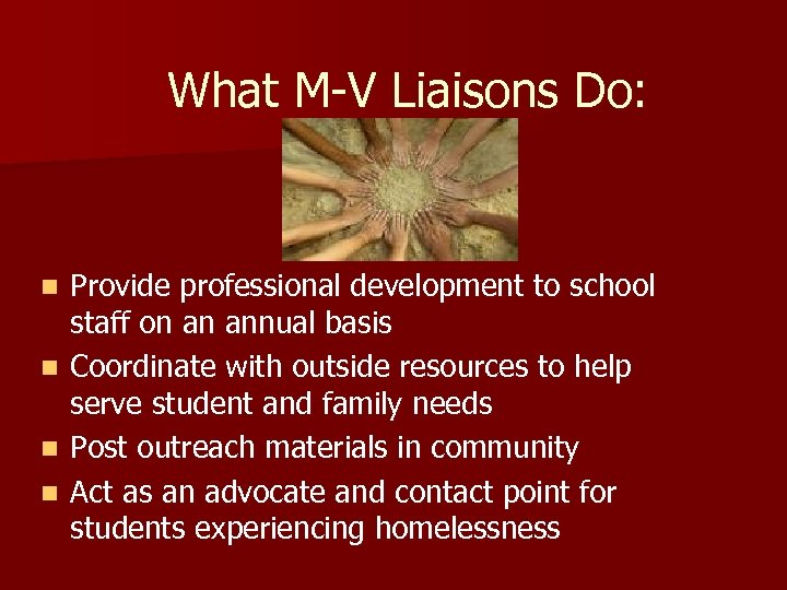 What M-V Liaisons Do: n n Provide professional development to school staff on an
