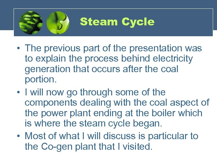Steam Cycle • The previous part of the presentation was to explain the process