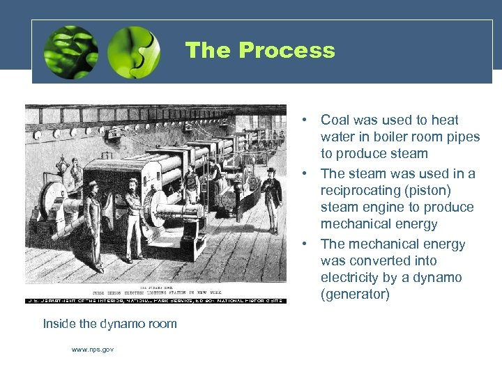 The Process • Coal was used to heat water in boiler room pipes to